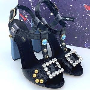 NIB DOLCE & GABBANA Crystal Studded Sandals Heels